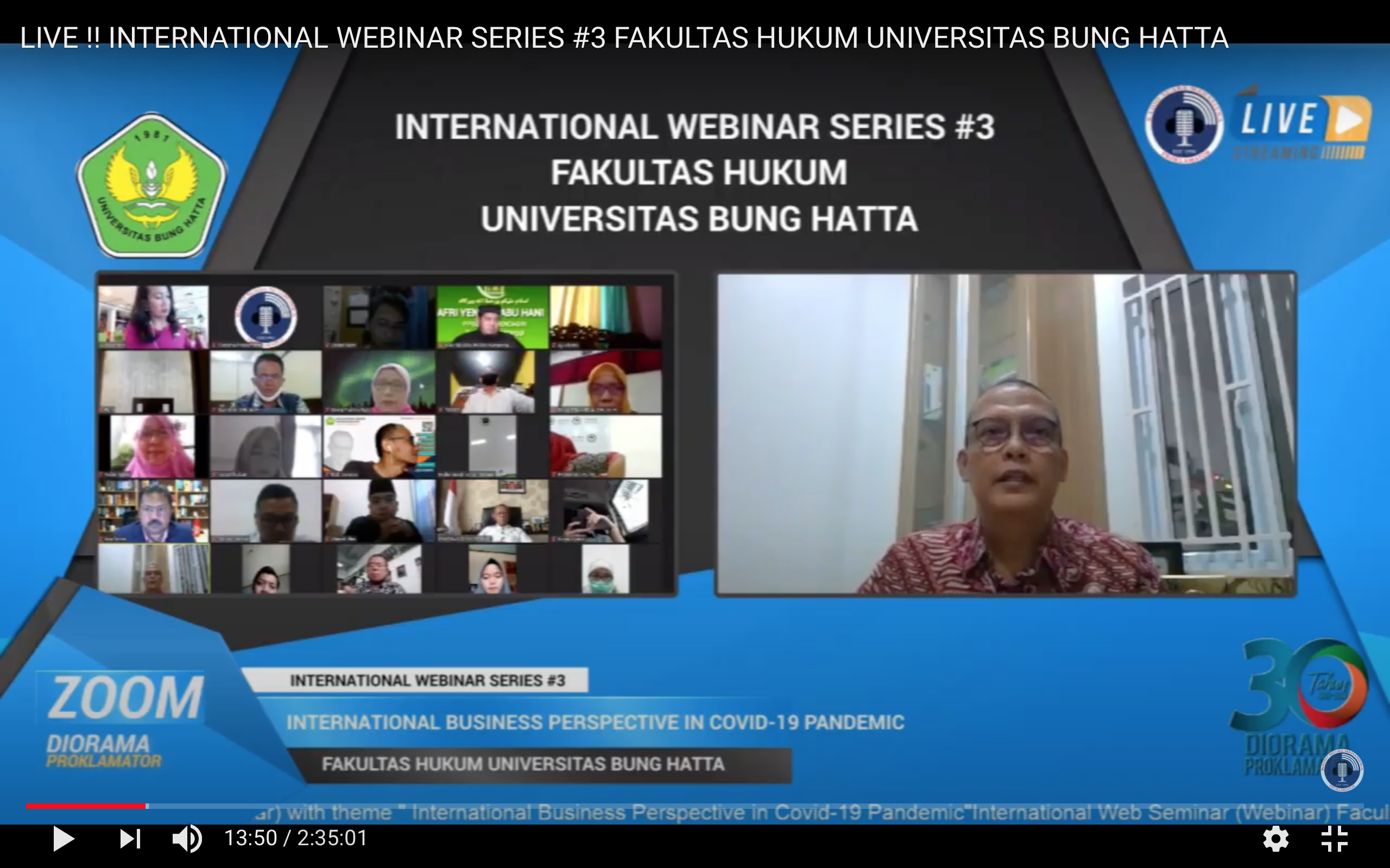 INTERNATIONAL WEBINAR SERIES #3 FH UNIVERSITAS BUNG HATTA (WEDNESDAY, 29 JULY 2020)